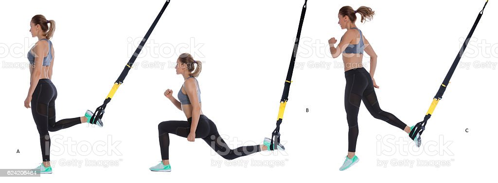 lunge exercise with hop stock photo