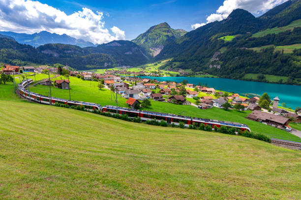 Lungern Old medieval village in the swiss alps. stock photo