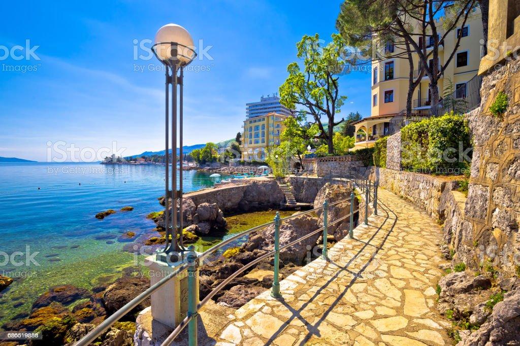 Lungomare coast famous walkway in Opatija, Kvarner bay, Croatia stock photo