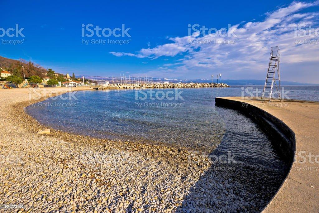 Lungomare famous waterfront walkway in Opatija beach view, Kvarner bay, Croatia stock photo