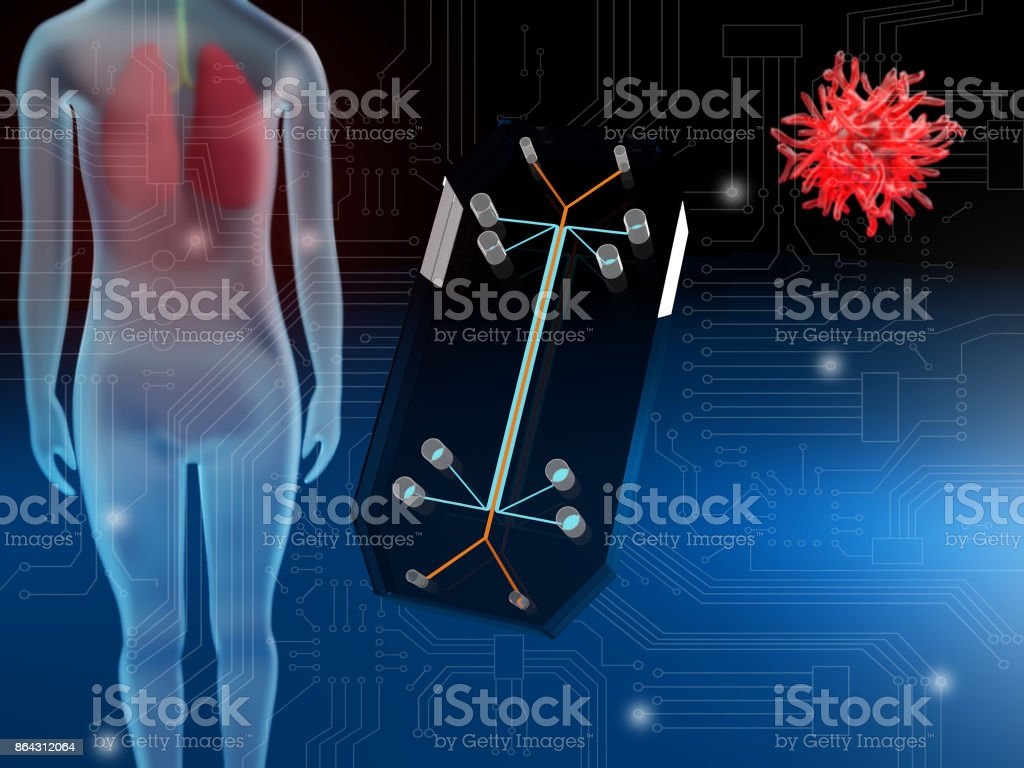 Lung-on-a-chip stock photo