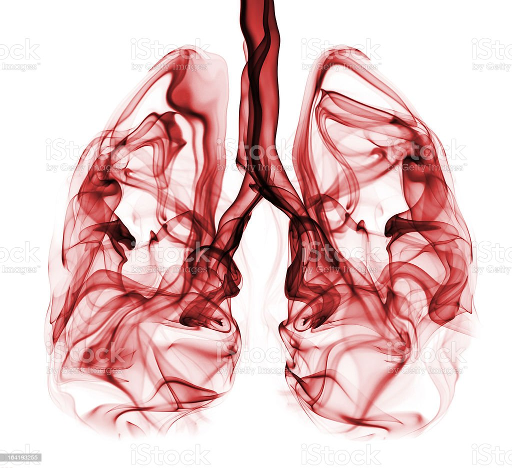 Lungs formed by red smoke. Illustration/symbol of lung cancer stock photo