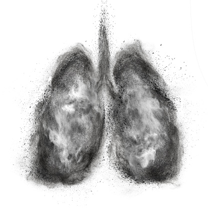 istock Lungs made of black powder explosion isolated on white 509609847