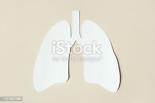 istock Lungs made paper on beige background. 1221607080