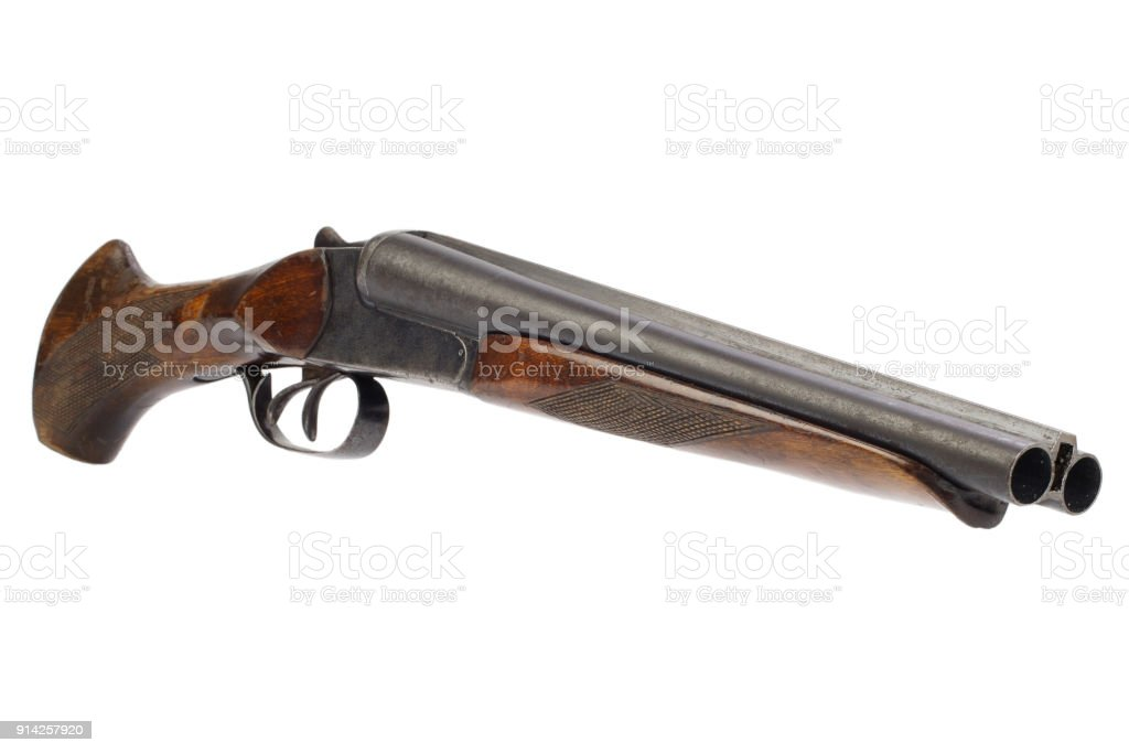 Lupara - a sawn-off shotgun stock photo