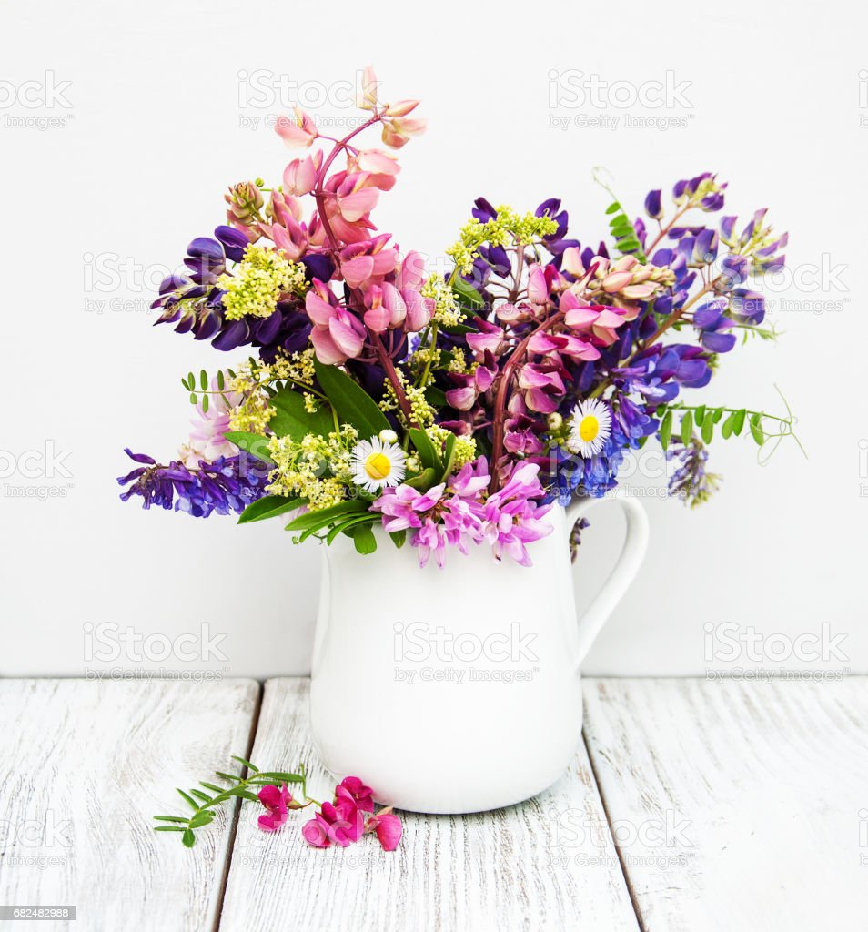 lupines in the vase royalty-free stock photo