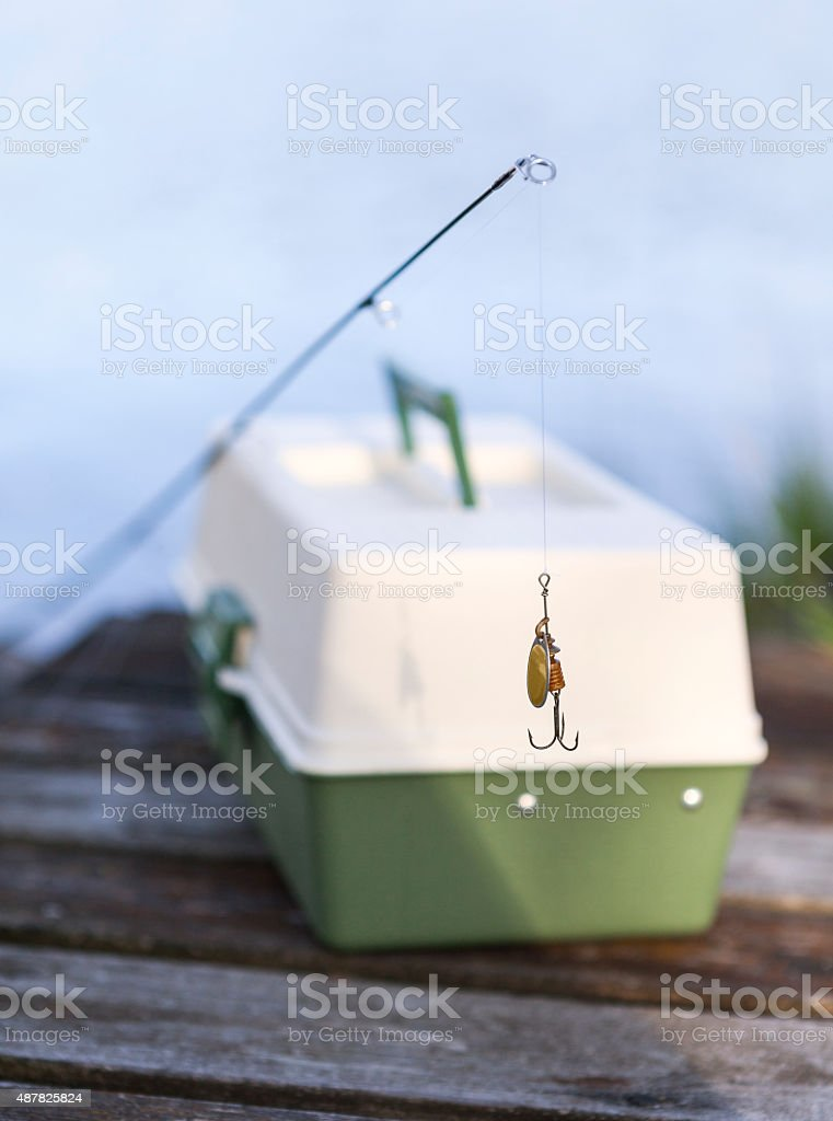 Lure and lure box stock photo