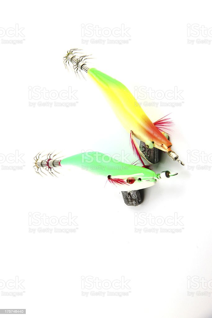 Lure is Squid fishing on white Background. royalty-free stock photo