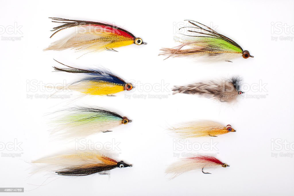 lures for fishing, fly, bait stock photo