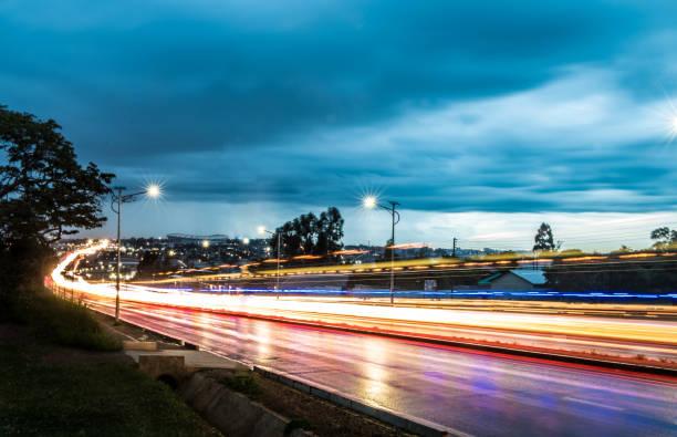 Lusaka night cityscape with light trails at Zani Muone, Zambia stock photo
