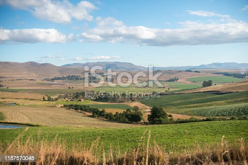 Lush green farm with rolling hills in background