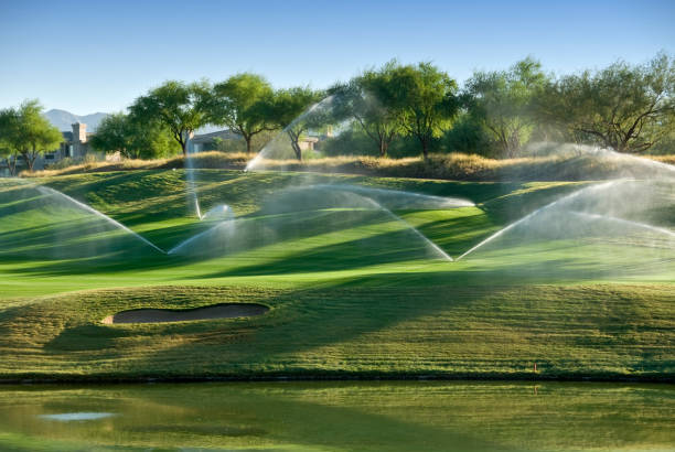 Lush green gold course in Arizona with sprinklers going off stock photo