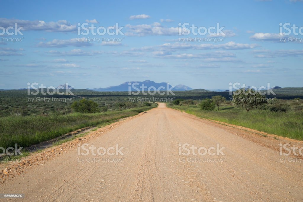 Lush Mountain Landscape with Highway in Namibia royalty-free stock photo