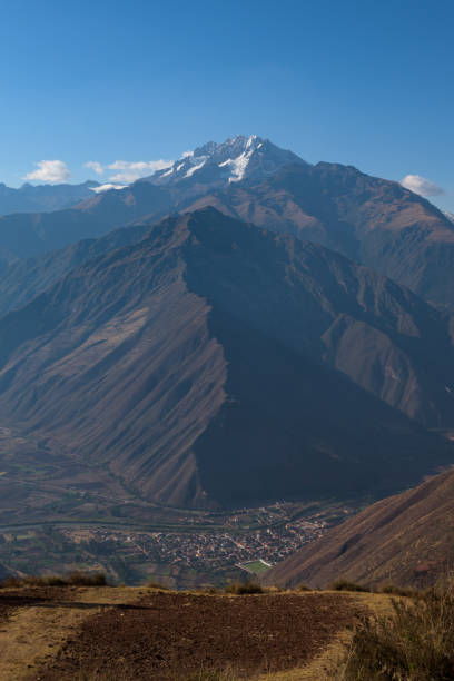 Lush valleys with in the background Salkantay Mountain, seen from the Sacred Valley near Cusco stock photo
