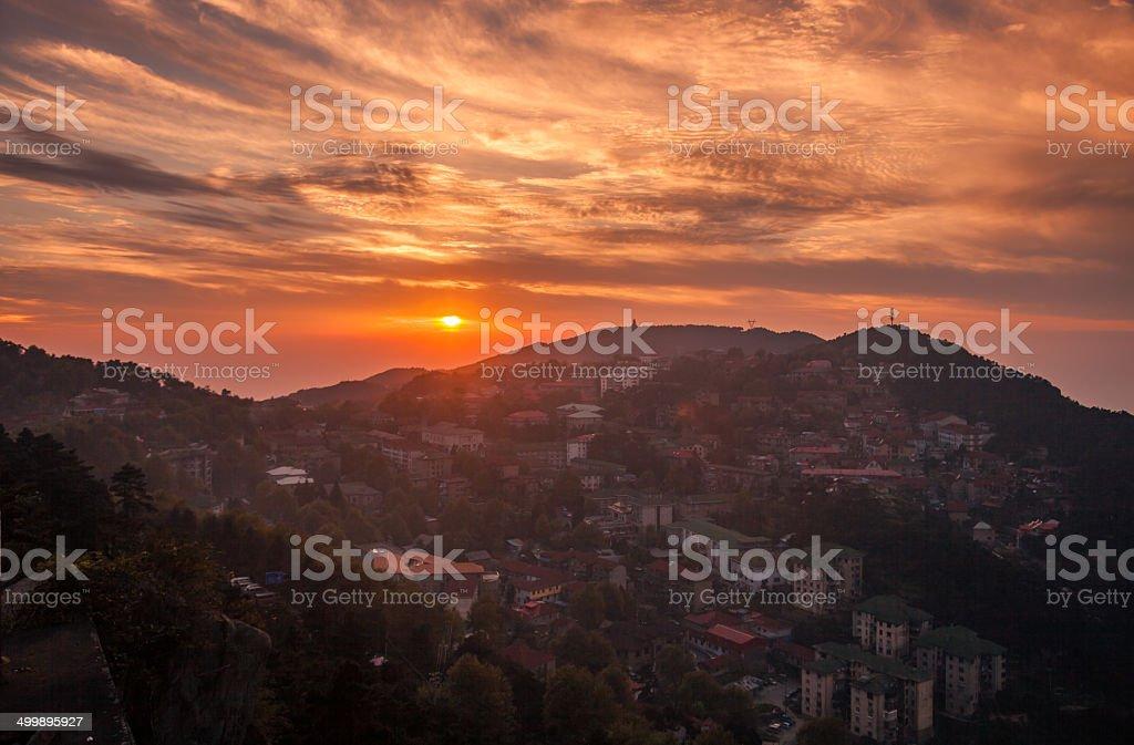 Lushan brighter sunset stock photo