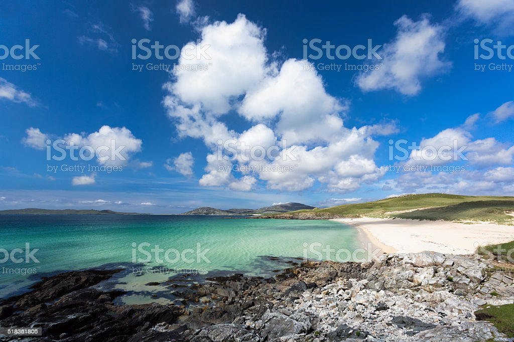 Luskentyre beach Turquoise waters of Luskentyre beach on the Isle of Harris, Outer Hebrides, Scotland Beach Stock Photo