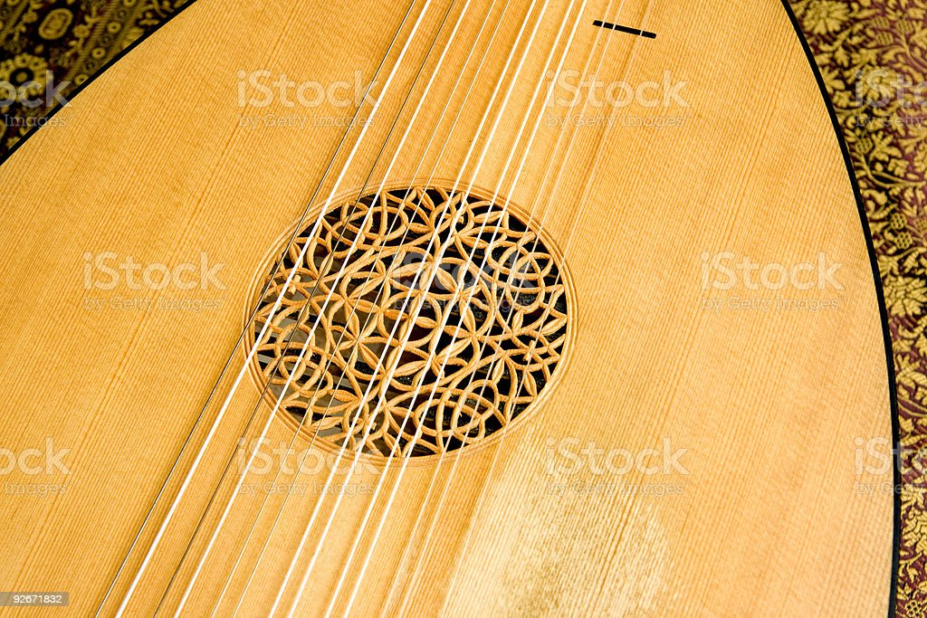 Lute closeup detail stock photo