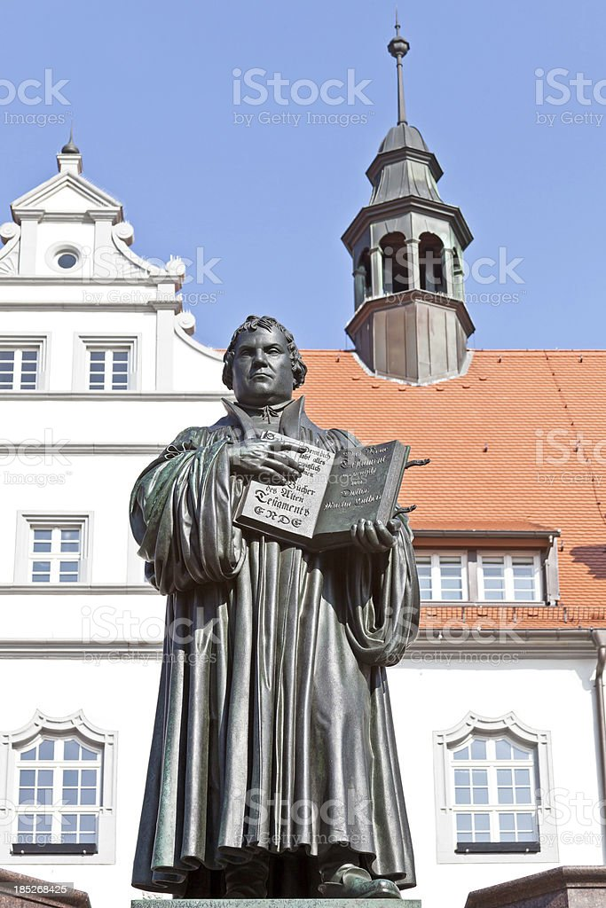 Luther statue in front of the Wittenberg Town Hall stock photo