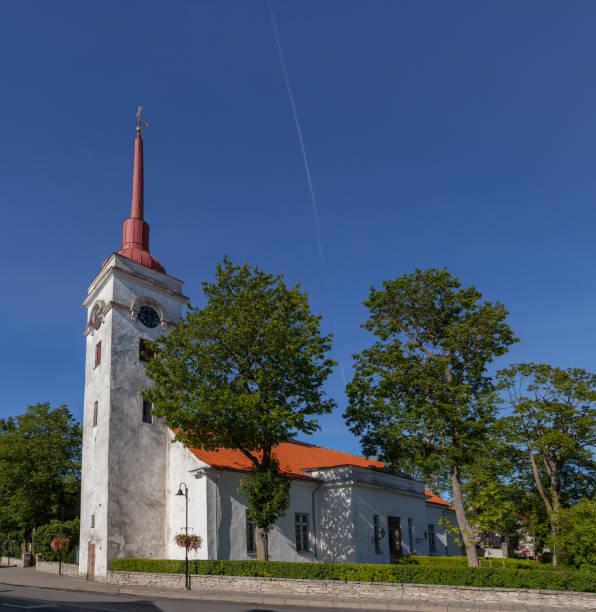Lutheran church in Kuressarae, Saaremaa, Estonia stock photo