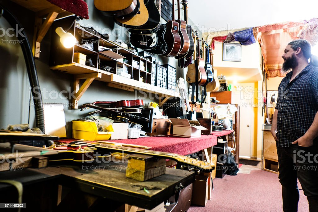 Luthier In His Guitar Repair Shop Stock Photo 874446302
