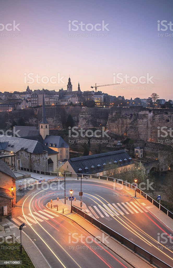 Luxembourg at dusk with cars light trails stock photo