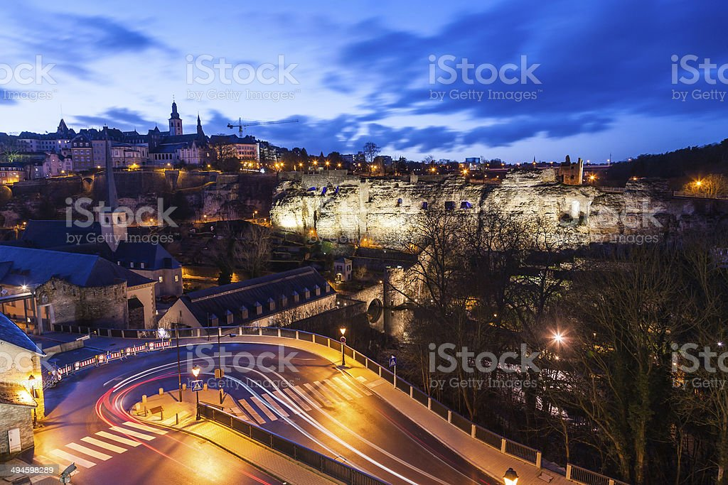 Luxembourg at night with cars light trails stock photo