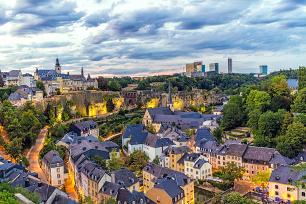 Luxembourg at sunset stock photo