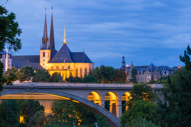 Luxembourg City Centre by Night stock photo