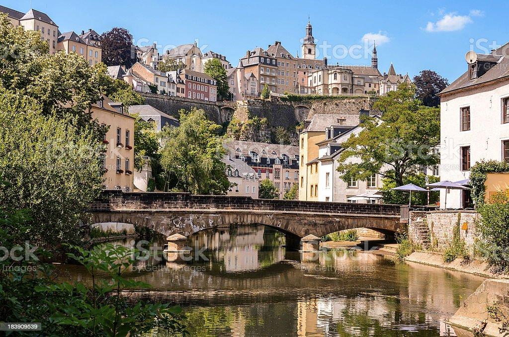 Luxembourg City, Grund, bridge over Alzette river stock photo