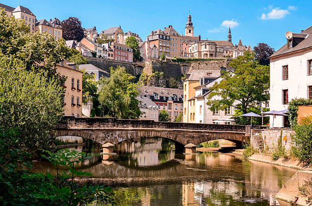 Luxembourg City, Grund, bridge over Alzette river Luxembourg City, historic destrict Grund, bridge over Alzette river benelux stock pictures, royalty-free photos & images