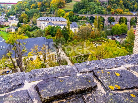 Beautiful autumn Luxembourg City, Grand Duchy of Luxembourg elevated view on a rainy October day