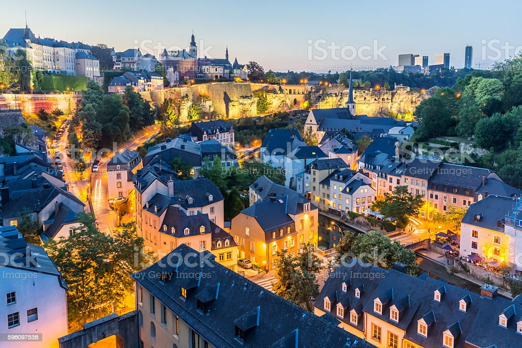 Luxembourg City night royalty-free stock photo