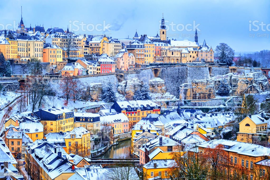 Luxembourg city snow white in winter, Europe stock photo