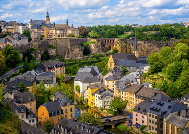 Luxembourg city, view of the Old Town and Grund stock photo