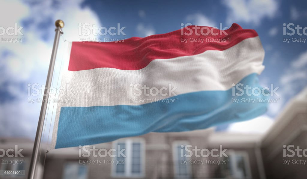 Luxembourg Flag 3D Rendering on Blue Sky Building Background stock photo