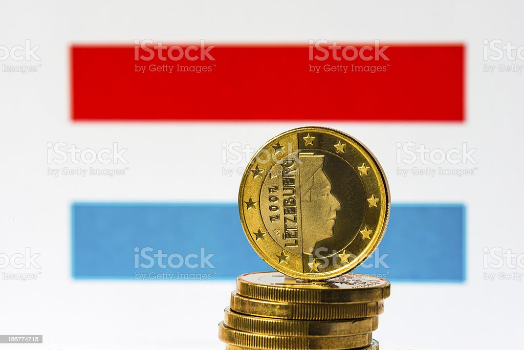 Luxembourg Flag and Euro royalty-free stock photo