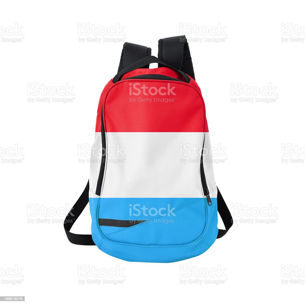 Luxembourg flag backpack isolated on white w/ path stock photo