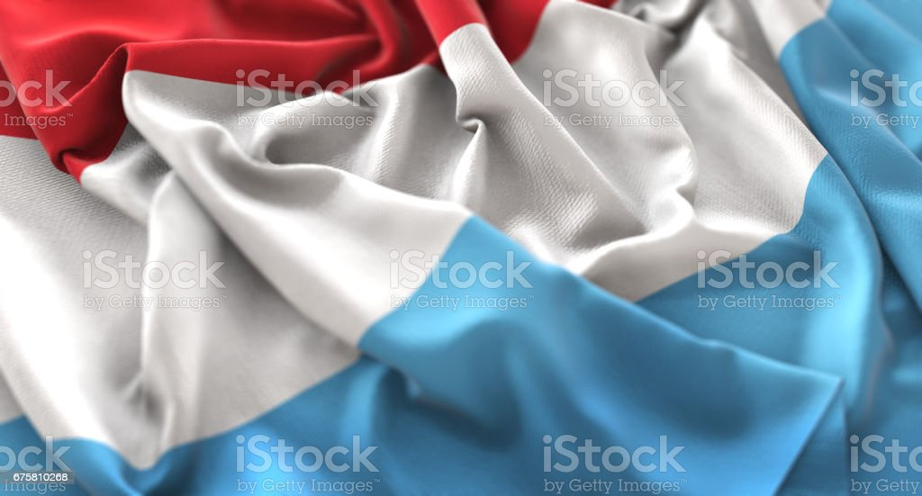 Luxembourg Flag Ruffled Beautifully Waving Macro Close-Up Shot stock photo
