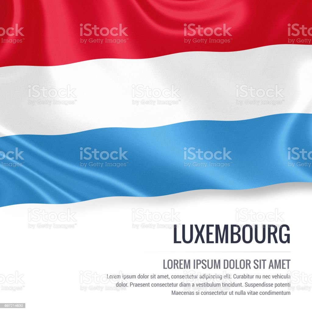 Luxembourg flag. Silky flag of Luxembourg waving on an isolated white background with the white text area for your advert message. 3D rendering. stock photo