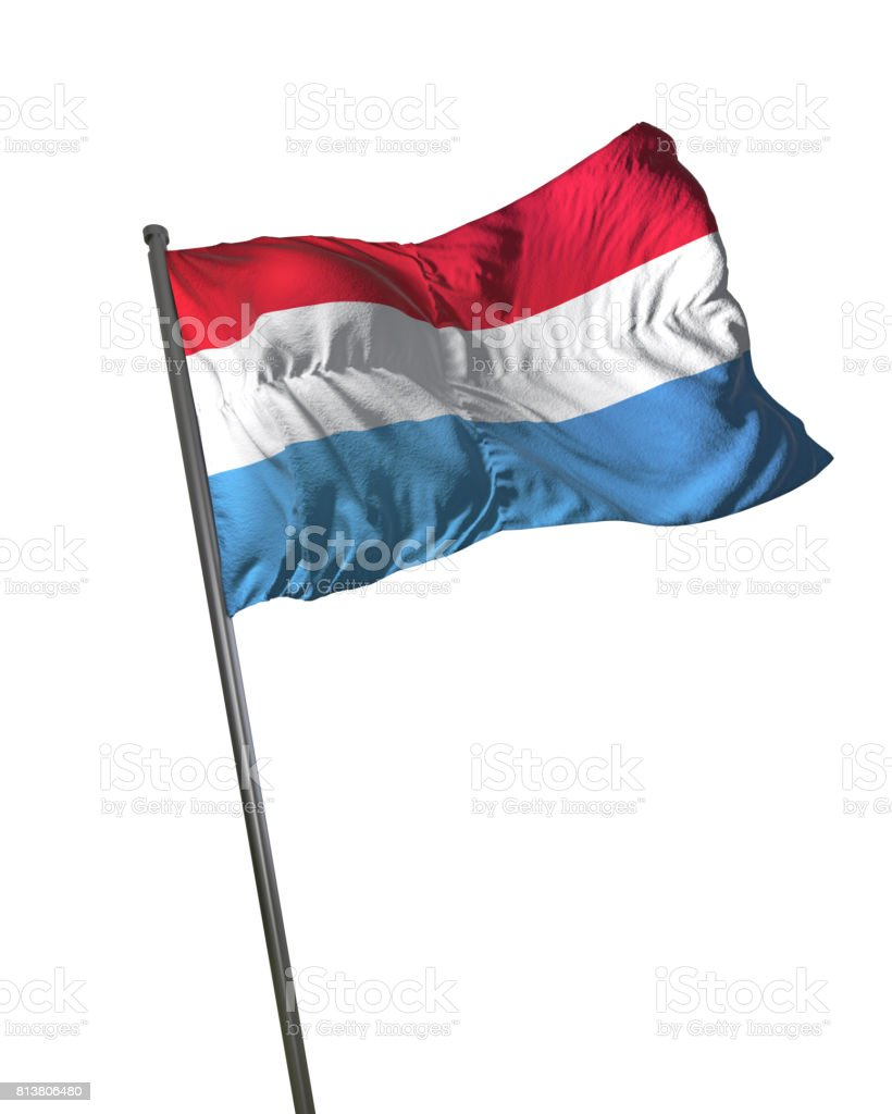 Luxembourg Flag Waving Isolated on White Background Portrait stock photo