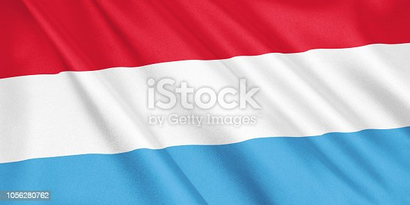 1056280906 istock photo Luxembourg flag waving with the wind, wide format, 3D illustration. 3D rendering. 1056280762