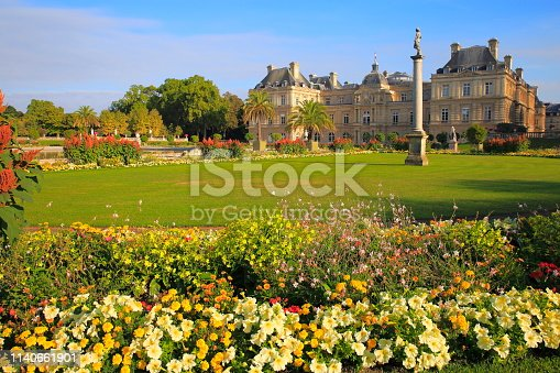 Luxembourg gardens and flowerbed sunrise – Paris, France