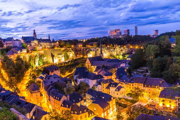 Luxemburg-Kirchberg bei Sonnenuntergang – Foto