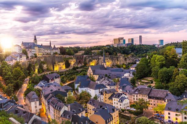 Luxembourg Kirchberg at sunset stock photo