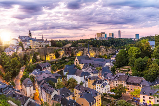 Luxembourg Kirchberg at sunset stock photo