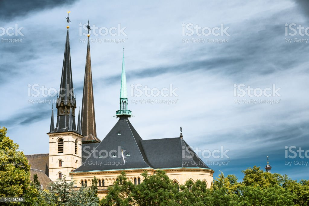 Luxembourg. Notre-dame Cathedral. Grand Duchy Of Luxembourg. stock photo