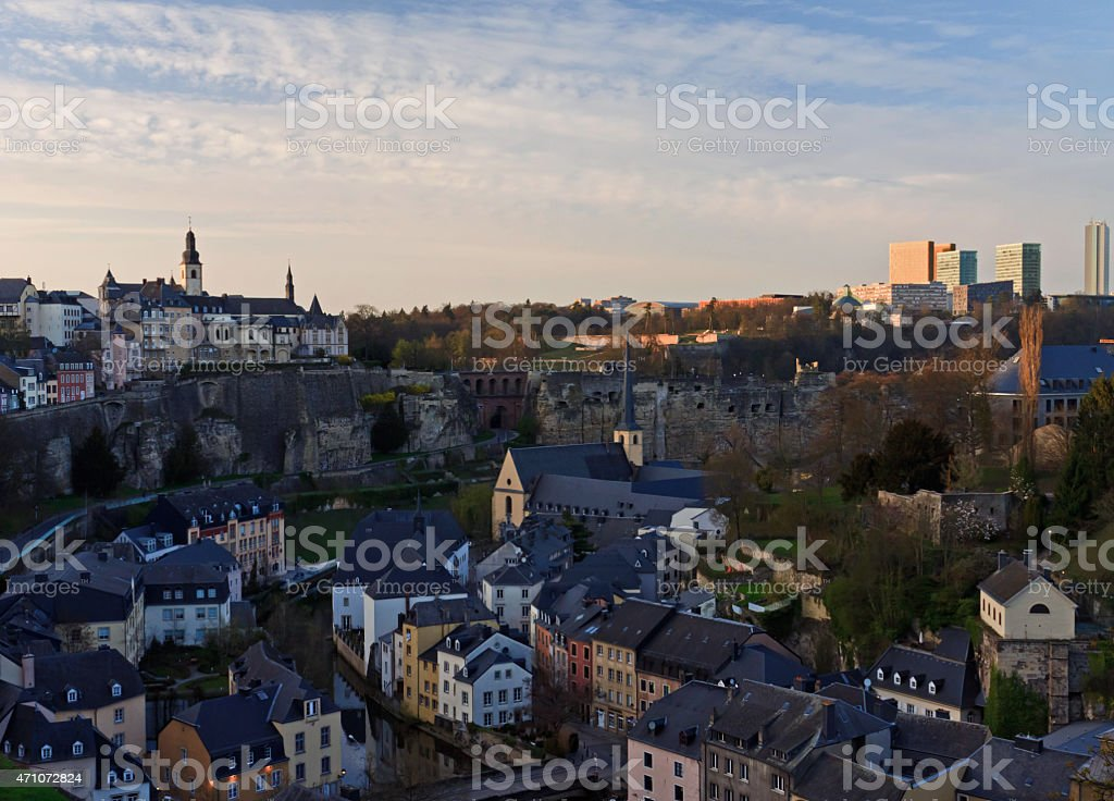 Luxembourg Old City at sunset stock photo