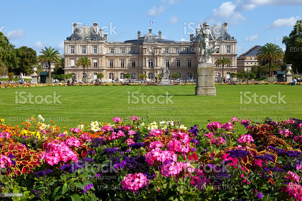 Luxembourg Palace in Jardin du Luxembourg in Paris stock photo