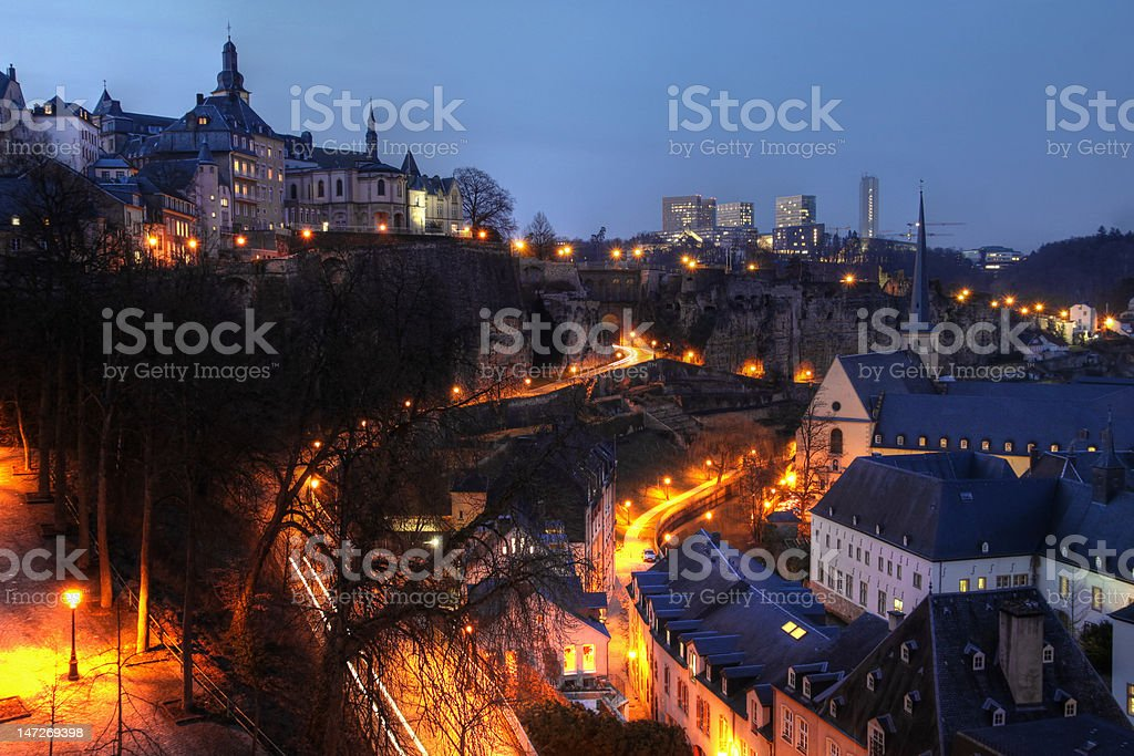 Luxembourg skyline at night stock photo