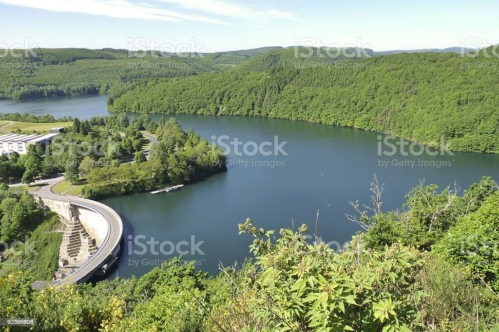 Luxembourg: The lake Esch-sur-Sûre stock photo
